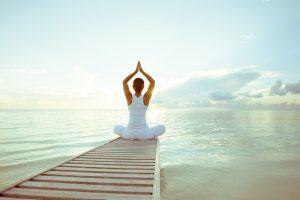 yoga, plage, mer