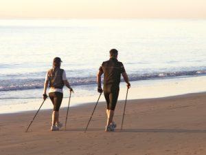 marche, plage, romantique