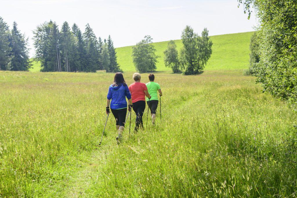 Trois femmes lors d'un jeûne et randonnée. Jeûne thérapeutique avec exercices.