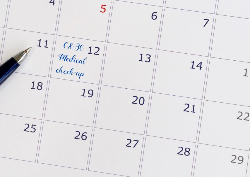 Agenda de la semaine avec rendez-vous pour une visite médicale - soins préventifs